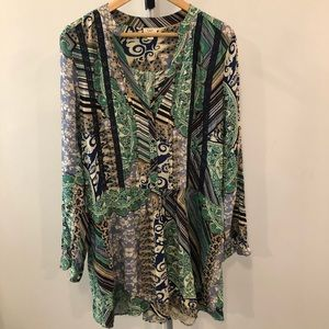 Anthropologie Mixed Print Burton Up Tunic Dress XL